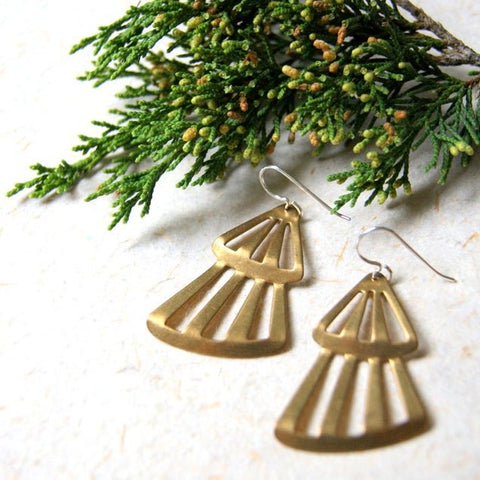 Vintage brass tree earrings with sterling silver french earwires.