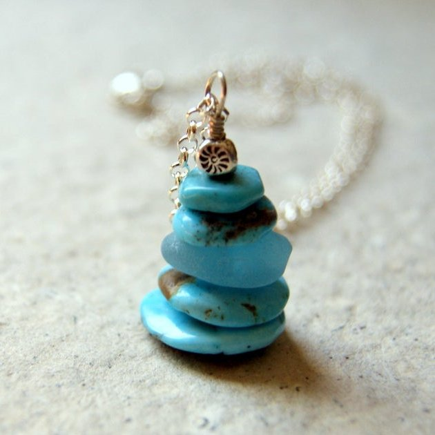 Cairn necklace made with Kingman turquoise, aqua sea glass and sterling silver by Wear Your Wild.