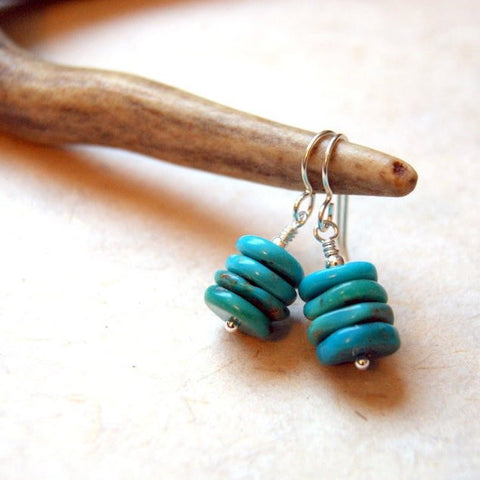 Campitos Mine Turquoise Cairn Earrings - choose sterling silver OR gold filled metal