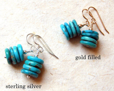 Genuine turquoise Cairn earrings made with sterling silver or gold filled metal findings by Wear Your Wild