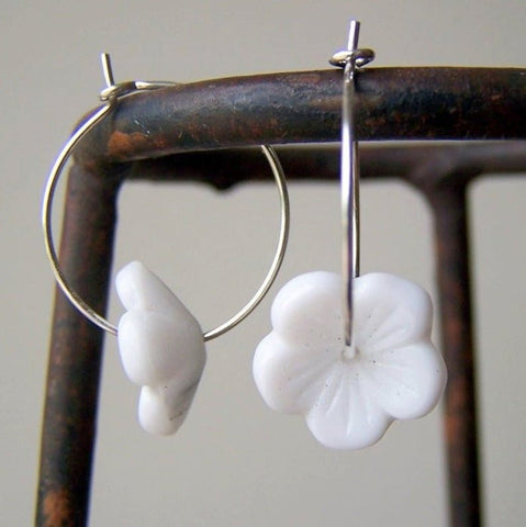 White Glass Flower Hoop Earrings by Wear Your Wild