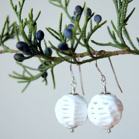 Vintage White Lace Glass Bead Earrings