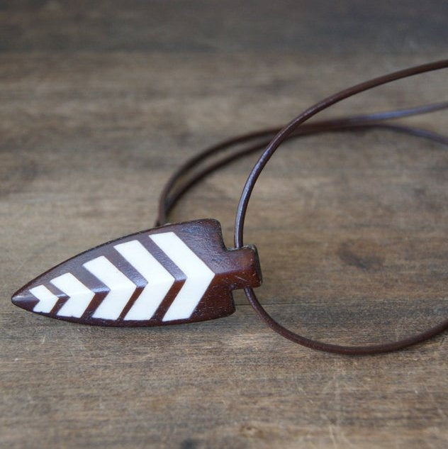 Bone and Wood Arrowhead Necklace with Brown Leather Cord by Wear Your Wild