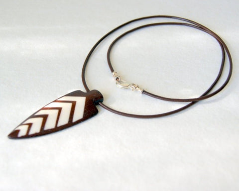 Bone and Wood Arrowhead Necklace with Brown Leather Cord