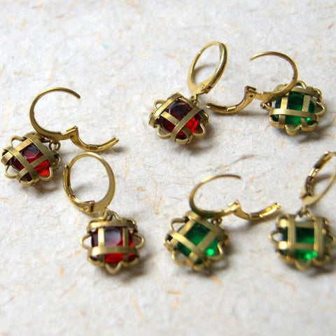 Vintage Brass Cage Earrings with Glass Stones - Choose stone color at checkout
