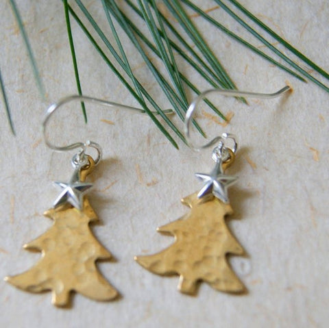 Hammered Brass Tree Earrings with Sterling Silver Earwires