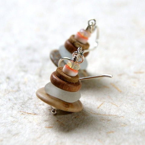 Zen Cairn Earrings with Sterling Silver Earwires