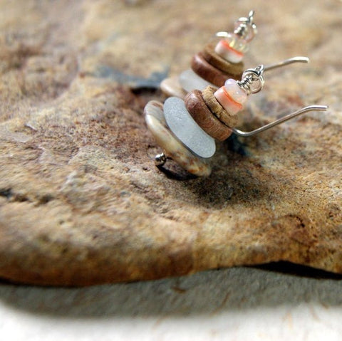 Cairn earrings made with opals, red lip shells, crinoid fossil stem, rosewood, white seaglass and tan beach stone by Wear Your Wild