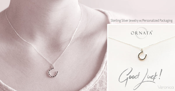 """Good Luck"" Horseshoe Sterling Silver Necklace on Personalized Jewelry Card"
