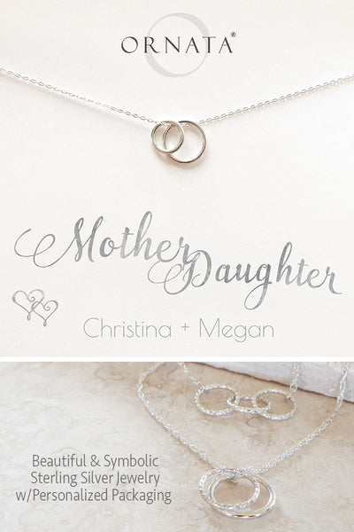 Custom Mother Daughter Necklace - personalized jewelry is sterling silver and the custom necklaces are perfect gifts for a mother, grandmother, wife, or daughter. Also good Mother's Day gift or Mother's Day jewelry for moms of daughters.