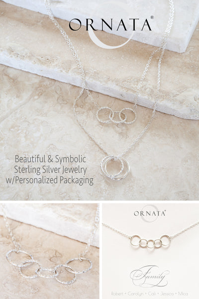 Personalized necklace - silver three best friend necklaces  - sterling silver custom jewelry for best friends or sisters. Perfect gift for sisters or best friends. Three interlocking silver rings to represent three friends or sisters.