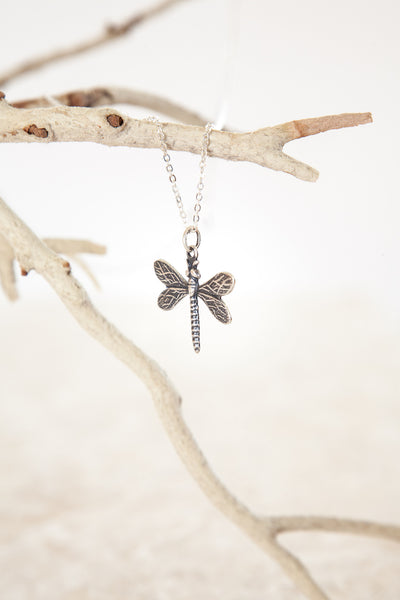 Delicate Silver Plated Baby Dragonfly Charmed Necklace