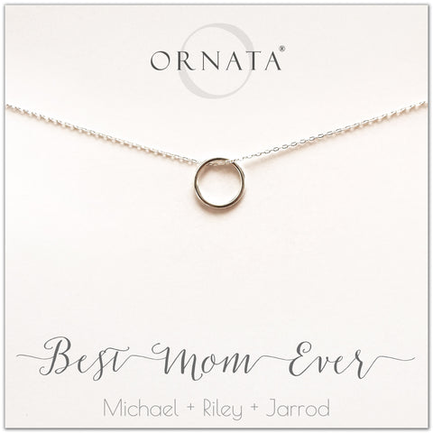 Best Mom Ever. Mother or Mom - personalized silver necklaces. Our sterling silver custom jewelry is a perfect gift for mothers, daughters, granddaughters, grandmothers, sisters, best friends, wives, girlfriends, and family members. Also a good gift for Mother's Day.
