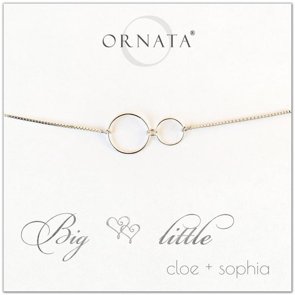 """Big Little"" Sterling Silver Bolo Bracelet on Personalized Jewelry Card"