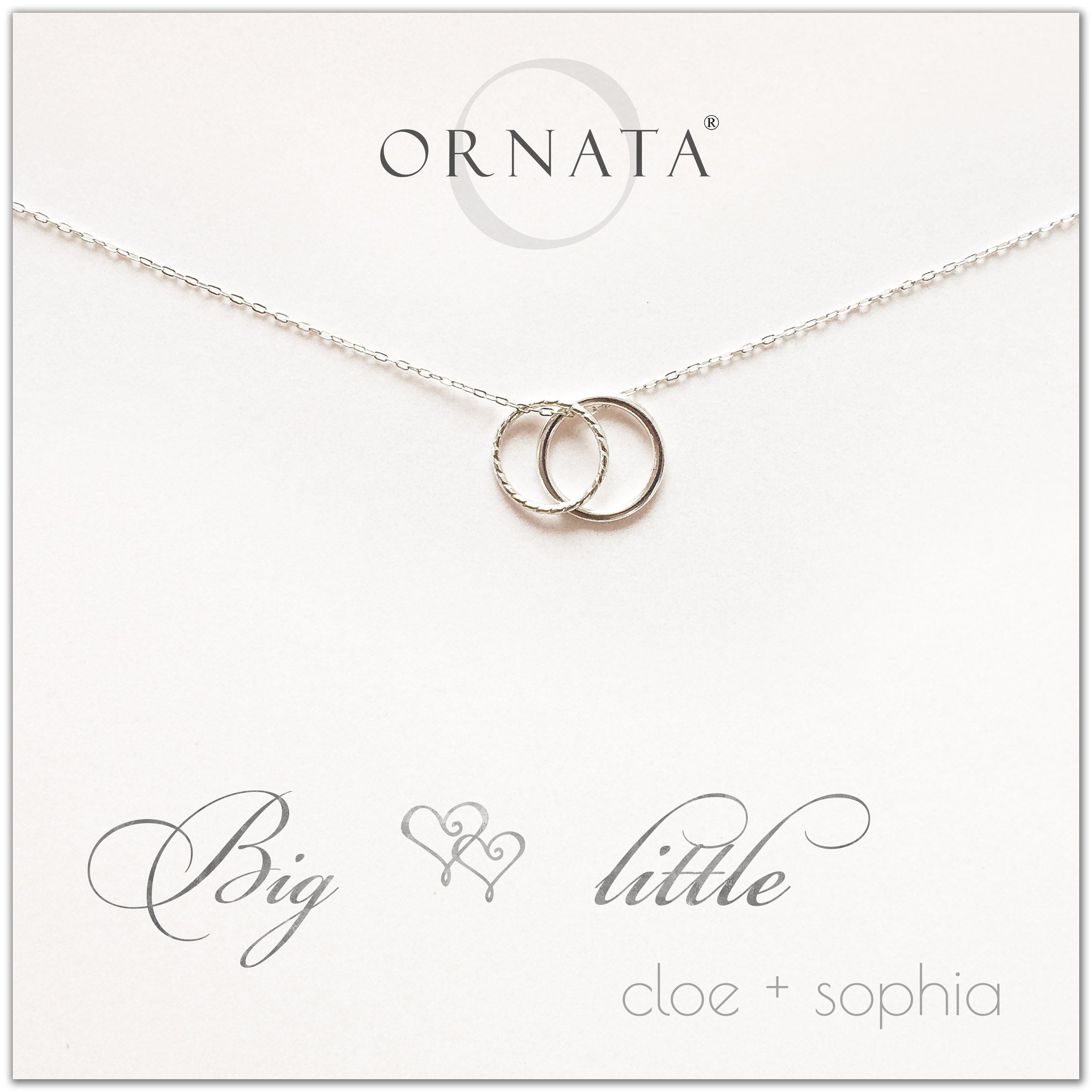 Big Little Sorority Sisters personalized necklace. Our sterling silver custom sorority necklaces make good gifts for sororities or sisters. Perfect for big little reveal day!