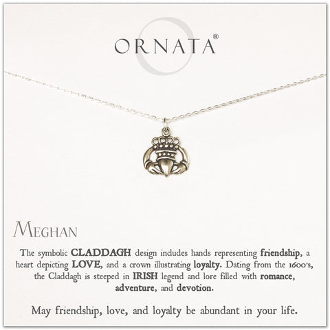 Claddagh necklace - personalized silver Irish claddagh necklace. Our sterling silver custom jewelry is a perfect gift to symbolize friendship, loyalty, and love with this traditional Irish jewelry. Two hands hold a heart to symbolize love.