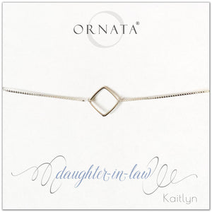 Daughter in law personalized sterling silver bolo bracelet. Our custom bracelets make good gifts for mothers in law to give their daughters in law. Great birthday or mother's day gift for daughter in law.