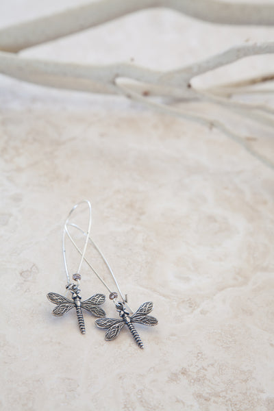 Silver Plated Dragonfly Earrings