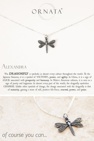 """Wisdom, Luck, & Victory"" Dragonfly Silver Plated Necklace 