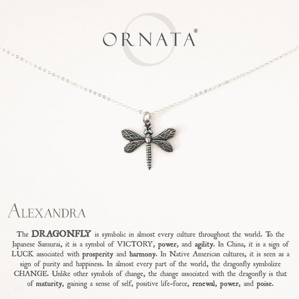 """Wisdom, Luck, & Victory"" Dragonfly Sterling Silver and Silver Plated Necklace 