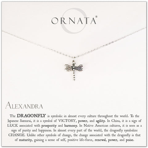 Personalized silver dragonfly necklace. Our sterling silver custom jewelry is a perfect gift for friends, sisters, mothers, or family members - symbolic necklace for luck, courage, wisdom, and victory.
