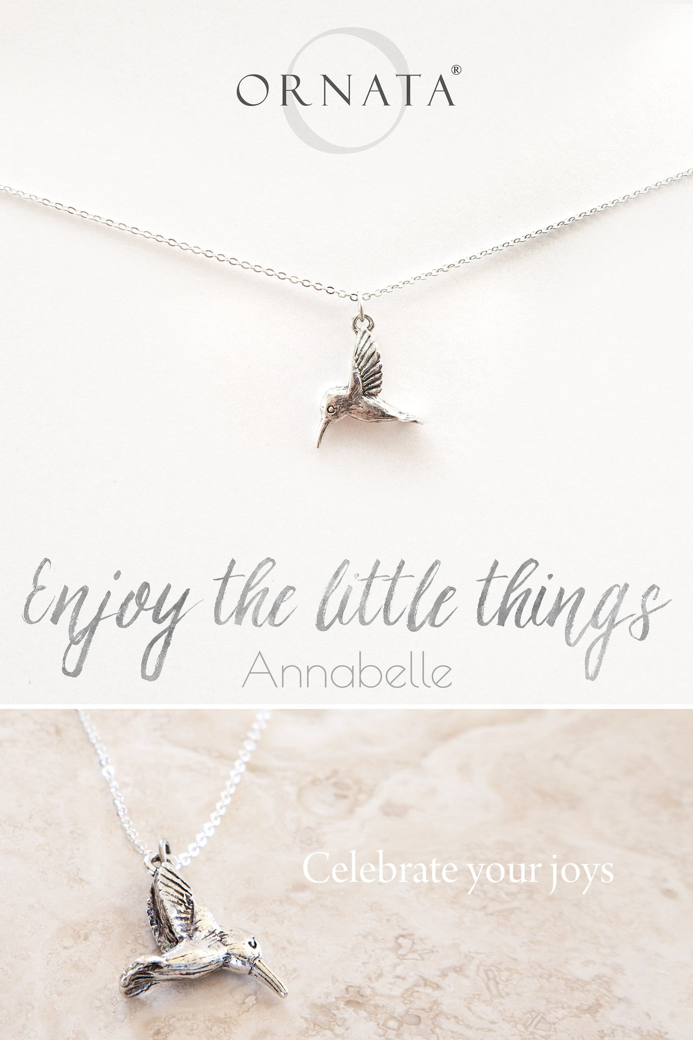 """Enjoy the Little Things"" Delicate Hummingbird Sterling Silver and Silver Plated Necklace"