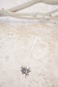 Delicate Sterling Silver and Silver Plated Fairy Charm Necklace