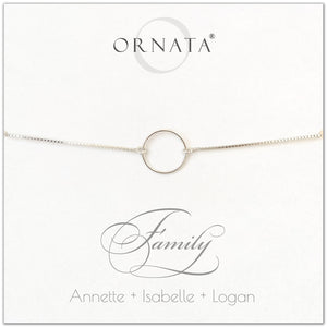 Family personalized sterling silver bolo bracelet. Our custom bracelets make good gifts for mothers, daughters, grandmothers, or granddaughters. Great mother's day gift.
