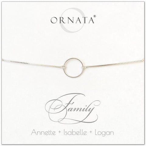 """Family"" Sterling Silver Bolo Bracelet on Personalized Jewelry Card"
