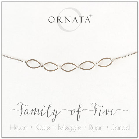 Family of five personalized sterling silver bolo bracelet. Our custom bracelets make good gifts for new families, mothers, and newlyweds. Great bridal shower gift, wedding gift, or baby shower gift. Also good mother's day gift.