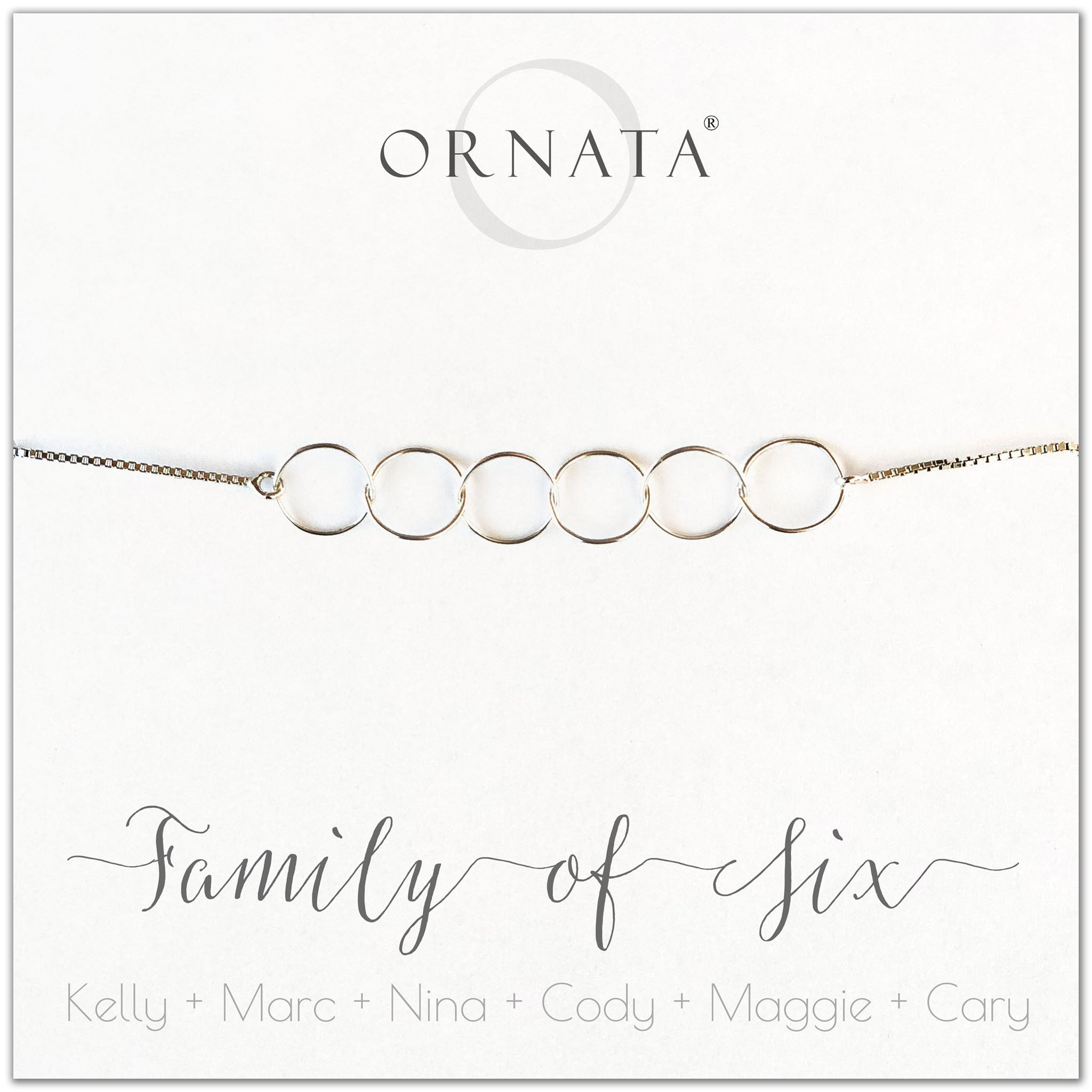 Family of six personalized sterling silver bolo bracelet. Our custom bracelets make good gifts for new families, mothers, and newlyweds. Great bridal shower gift, wedding gift, or baby shower gift. Also good mother's day gift.
