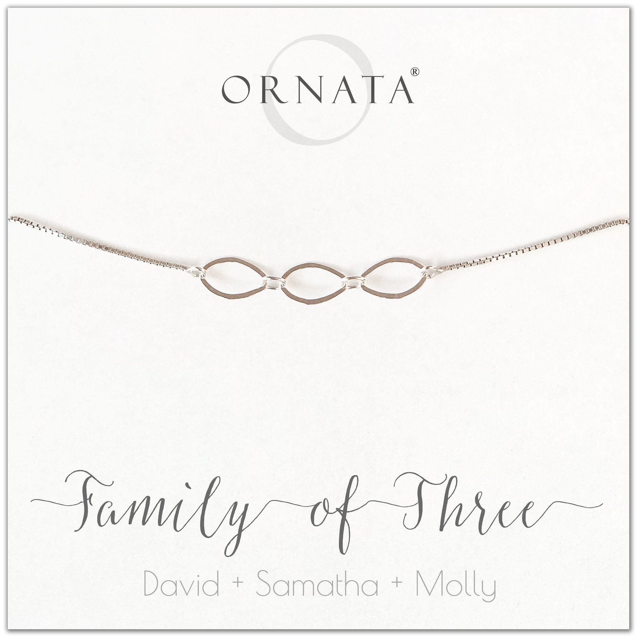 Family of three personalized sterling silver bolo bracelet. Our custom bracelets make good gifts for new families, mothers, and newlyweds. Great bridal shower gift, wedding gift, or baby shower gift. Also good mother's day gift.