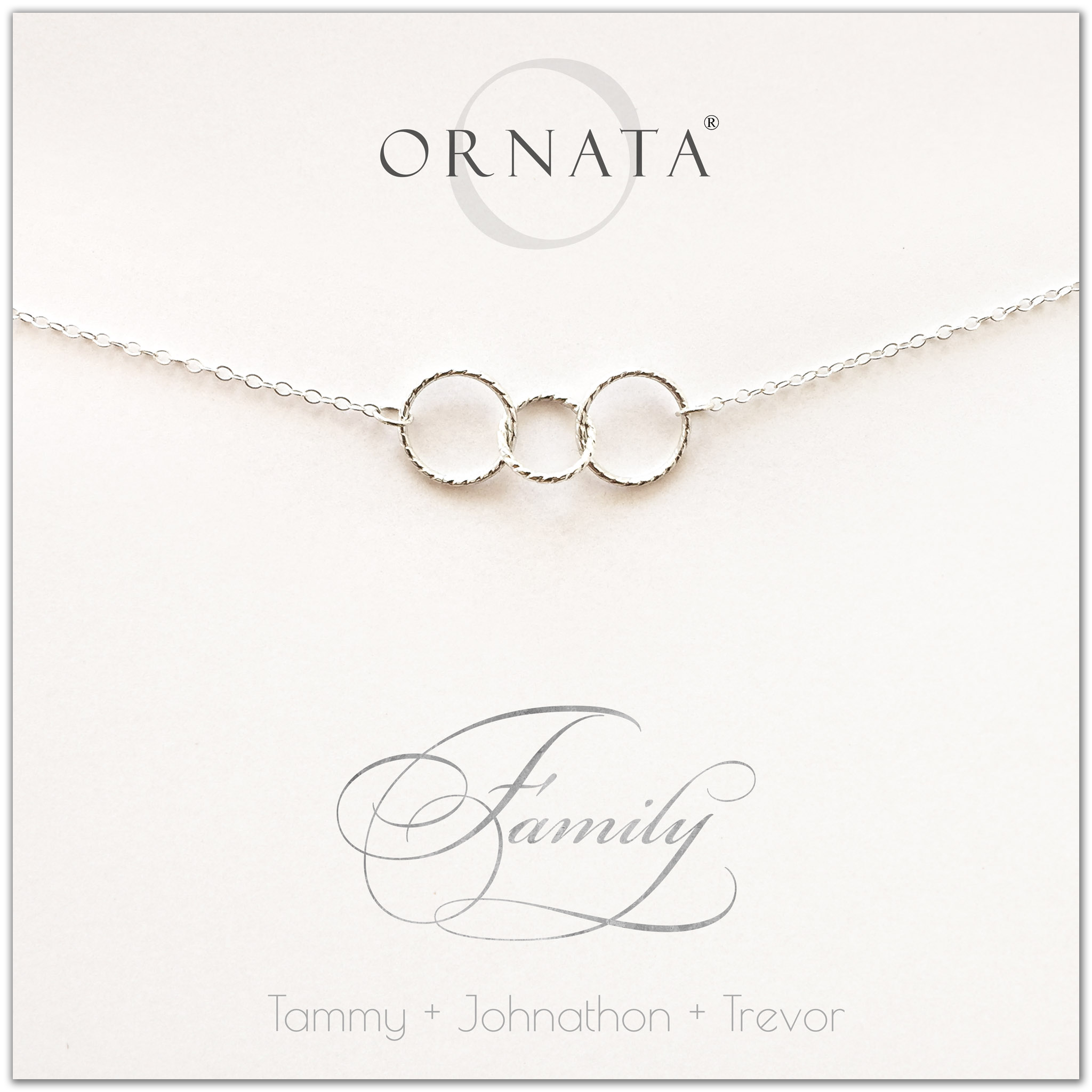Family of Three Personalized silver necklaces for families of three. Our sterling silver custom family jewelry is a perfect gift for new families, newlyweds, parents, new parents, friends, sisters, mothers, and grandmothers. Family jewelry is also a good gift for Mother's Day.
