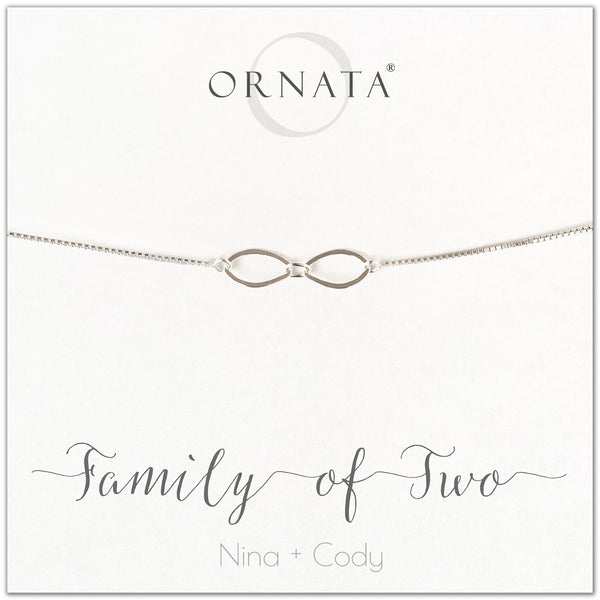 """Family of Two"" Sterling Silver Bolo Bracelet on Personalized Jewelry Card"