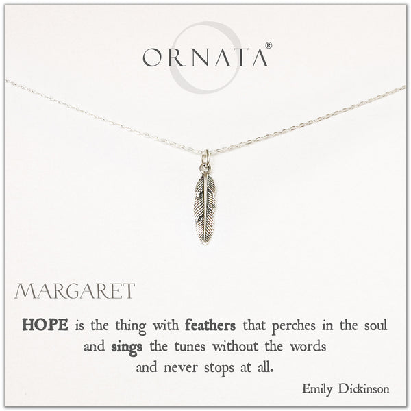 Emily Dickinson Hope Quote necklace - personalized silver feather necklace. Our sterling silver custom jewelry is a perfect gift to symbolize hope with an inspirational quote and feather charm.