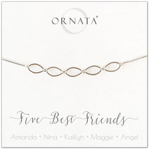 Five best friends personalized sterling silver bolo bracelet. Our custom bracelets make good gifts for best friends or sisters.
