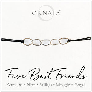 Five best friends personalized sterling silver corded bolo bracelet. Our custom cord bracelets make good gifts for best friends or sisters. Friendship bracelet with five sterling silver interlocking rings on black cord.