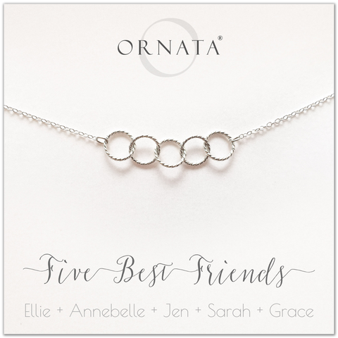 Personalized silver necklaces for five best friends. Our sterling silver custom jewelry is a perfect gift for a sister or best friend. Friendship necklaces for 5 best friends. Represents 5 best friends with sterling silver interlocking rings.