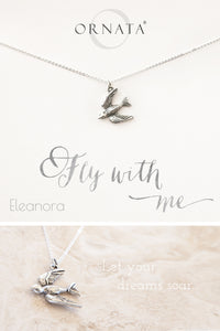 """Fly With Me"" Delicate Sterling Silver and Silver Plated Swallow Necklace"