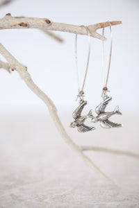Silver Plated Flying Bird Earrings