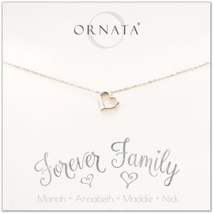 Forever family necklace - personalized silver heart necklace. Our sterling silver custom jewelry is a perfect gift for wives, mothers, nieces, daughters, best friends, sisters, moms, or family members - symbolic heart necklace to show your love for your family - personalize with the names of your family members.  Also a great gift for Mother's Day.
