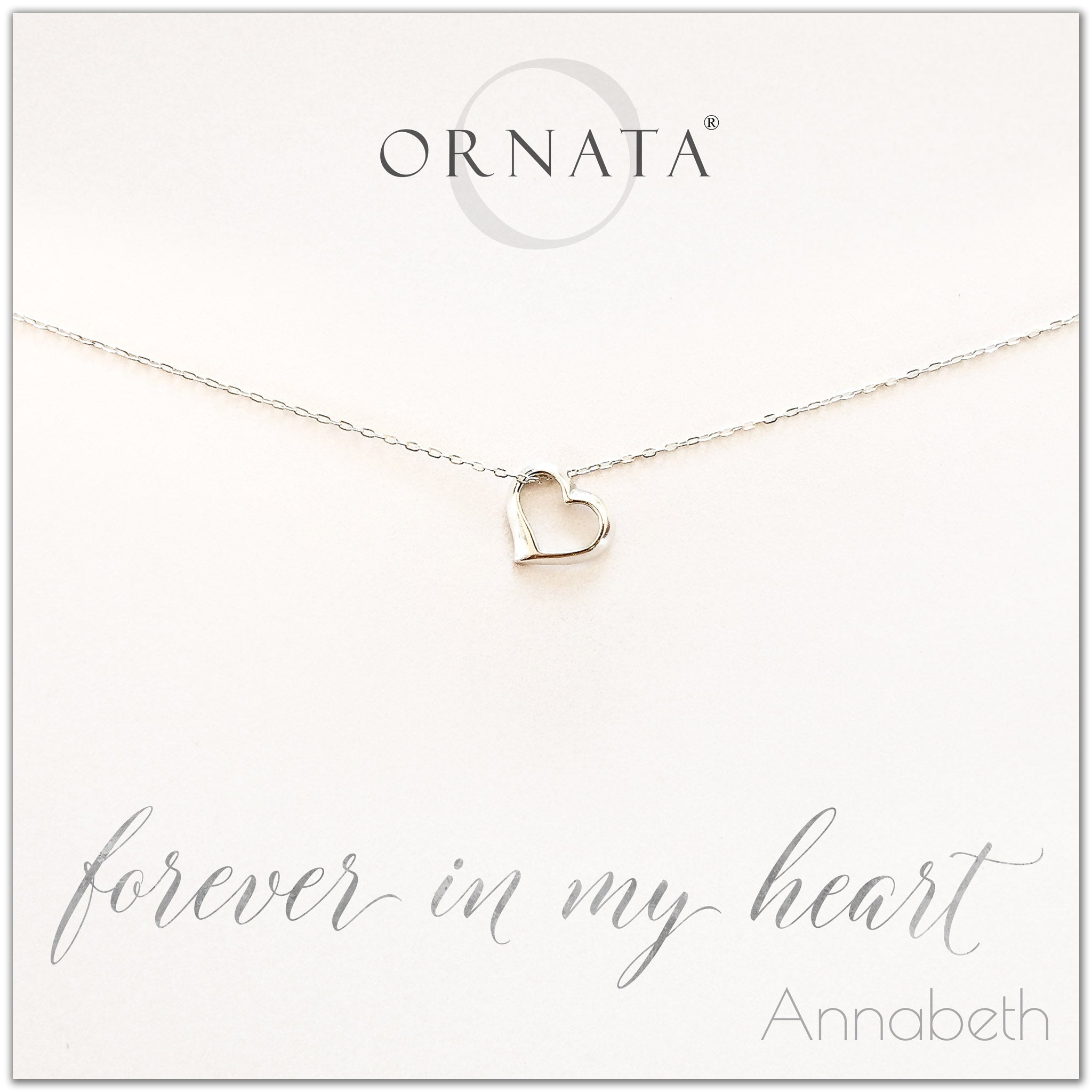 Forever in my heart necklace - personalized silver heart necklace. Our sterling silver custom jewelry is a perfect gift for girlfriends, wives, mothers, nieces, daughters, best friends, sisters, significant others, newlyweds, and soul mates - symbolic heart necklace to show your love.