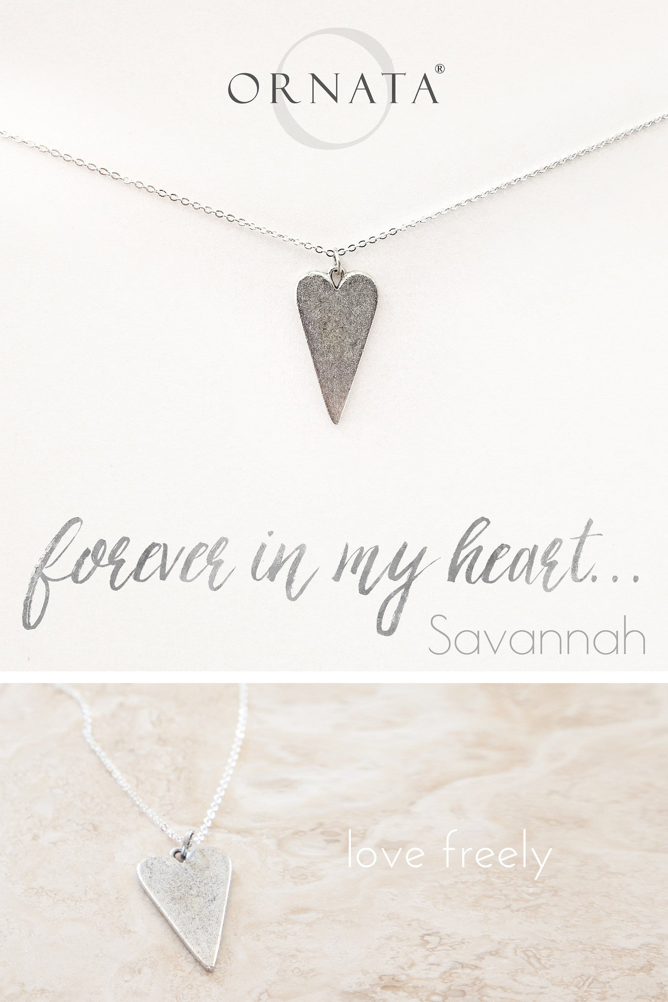 """Forever in My Heart"" Sterling Silver and Silver Plated Heart Necklace"