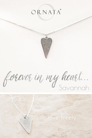 """Forever in My Heart"" Delicate Heart Silver Plated Necklace"