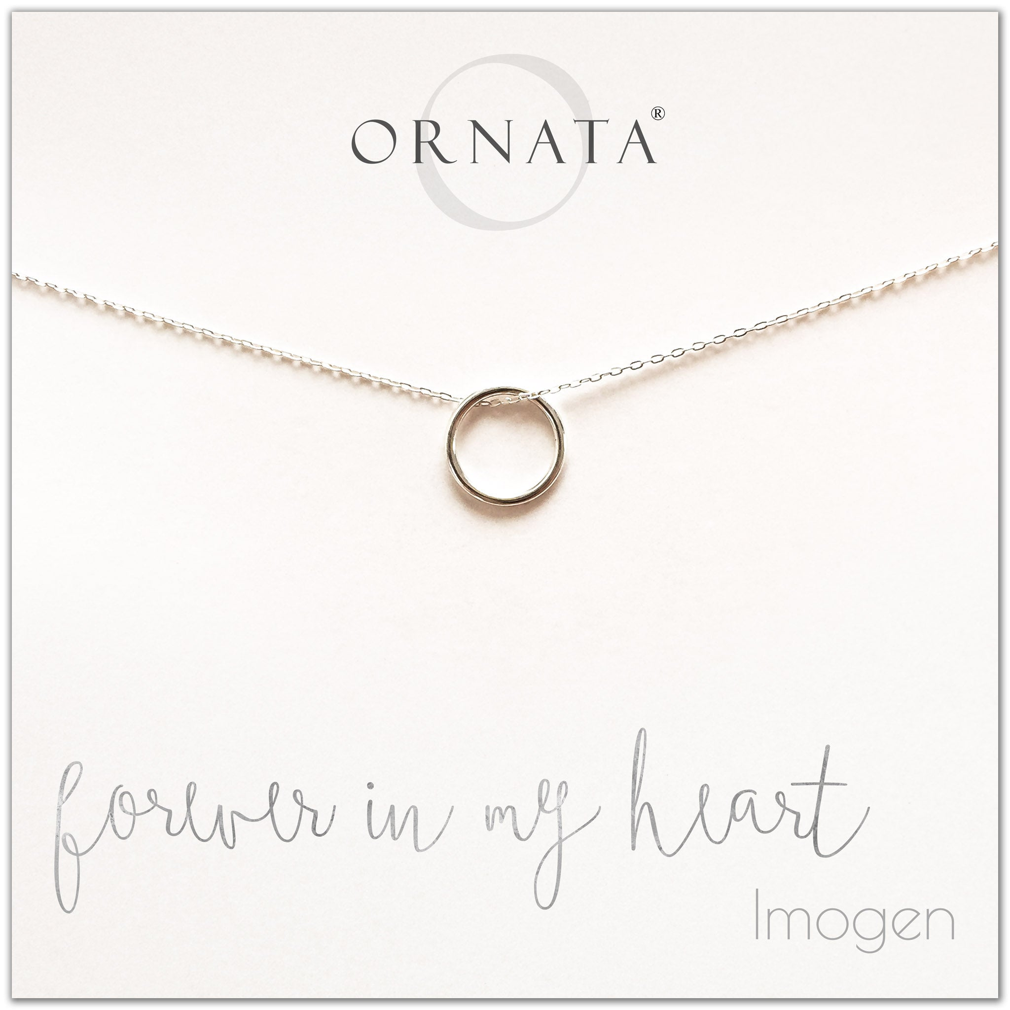 Forever in my heart necklace - personalized silver ring necklace. Our sterling silver custom jewelry is a perfect gift for girlfriends, wives, mothers, nieces, daughters, best friends, sisters, significant others, and soul mates - symbolic circle necklace to show your love.