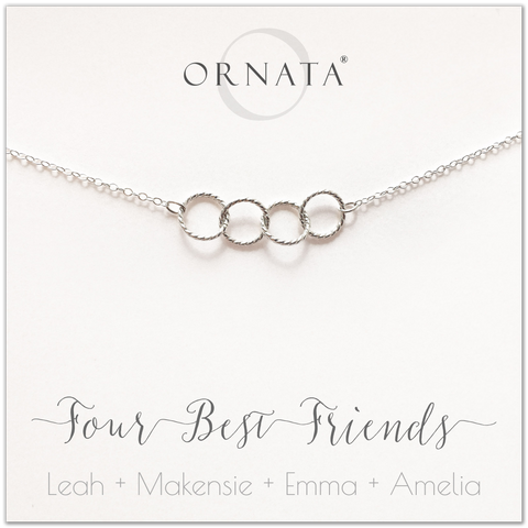 Personalized silver necklaces for four best friends. Our sterling silver custom jewelry is a perfect gift for a sister or best friend. Friendship necklaces for 4 best friends. Represents 4 best friends with sterling silver interlocking rings.