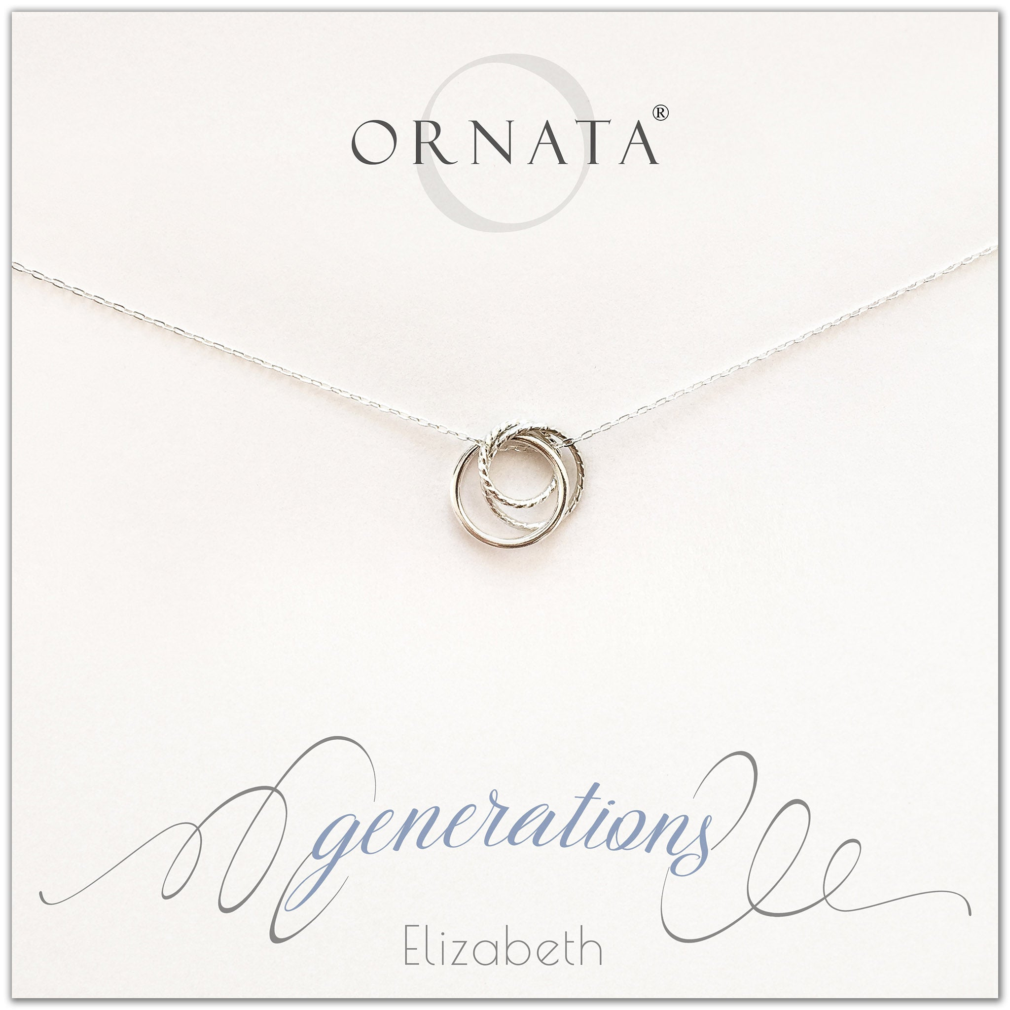 """Generations"" Sterling Silver Necklace on Personalized Jewelry Card 