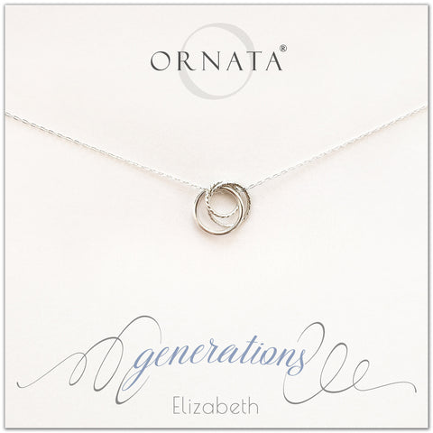 Three Generations PERSONALIZED Sterling Silver Necklace by Ornata