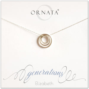 Generations Jewelry - personalized silver necklaces. Our sterling silver custom jewelry is a perfect gift for mothers, daughters, granddaughters, grandmothers, grandmas, sisters, or family members. Three rings represent three generations. Perfect gift for Mother's Day or Mother's Day Jewelry.