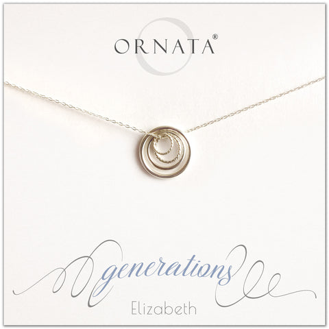 Generations Jewelry - personalized silver necklaces. Our sterling silver custom jewelry is a perfect gift for mothers, daughters, granddaughters, grandmothers, grandmas, sisters, or family members. Four rings represent three generations. Perfect gift for Mother's Day or Mother's Day Jewelry.